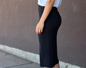 Black Jersey Knit High Waisted Skirt with Gold Dotted Waistband