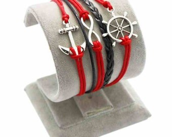 Nautical red and black bracelet