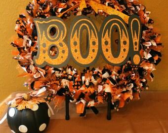 Halloween Rag Wreath - Boo!