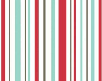 1/2 yd SALE Riley Blake Primrose Garden Stripe Red Fabric by Carina Gardner C4046