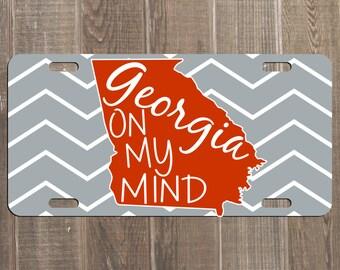 GEORGIA On My Mind - Red Chevron License Plate GA Bulldogs UGA Custom Car Monogram Tag Customized Personalized