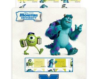 126 Monster University Waterproof Name Stickers + Free Monster University folder !!!