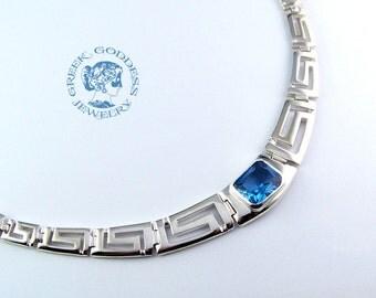 greek key aquamarine necklace, greek key necklace, greek necklace, silver necklace, greek jewelry, Birth of Aphrodite necklace, greek