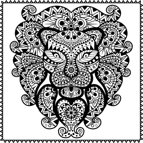 Animal Coloring Book Sheet Grown Ups Digital Stamp