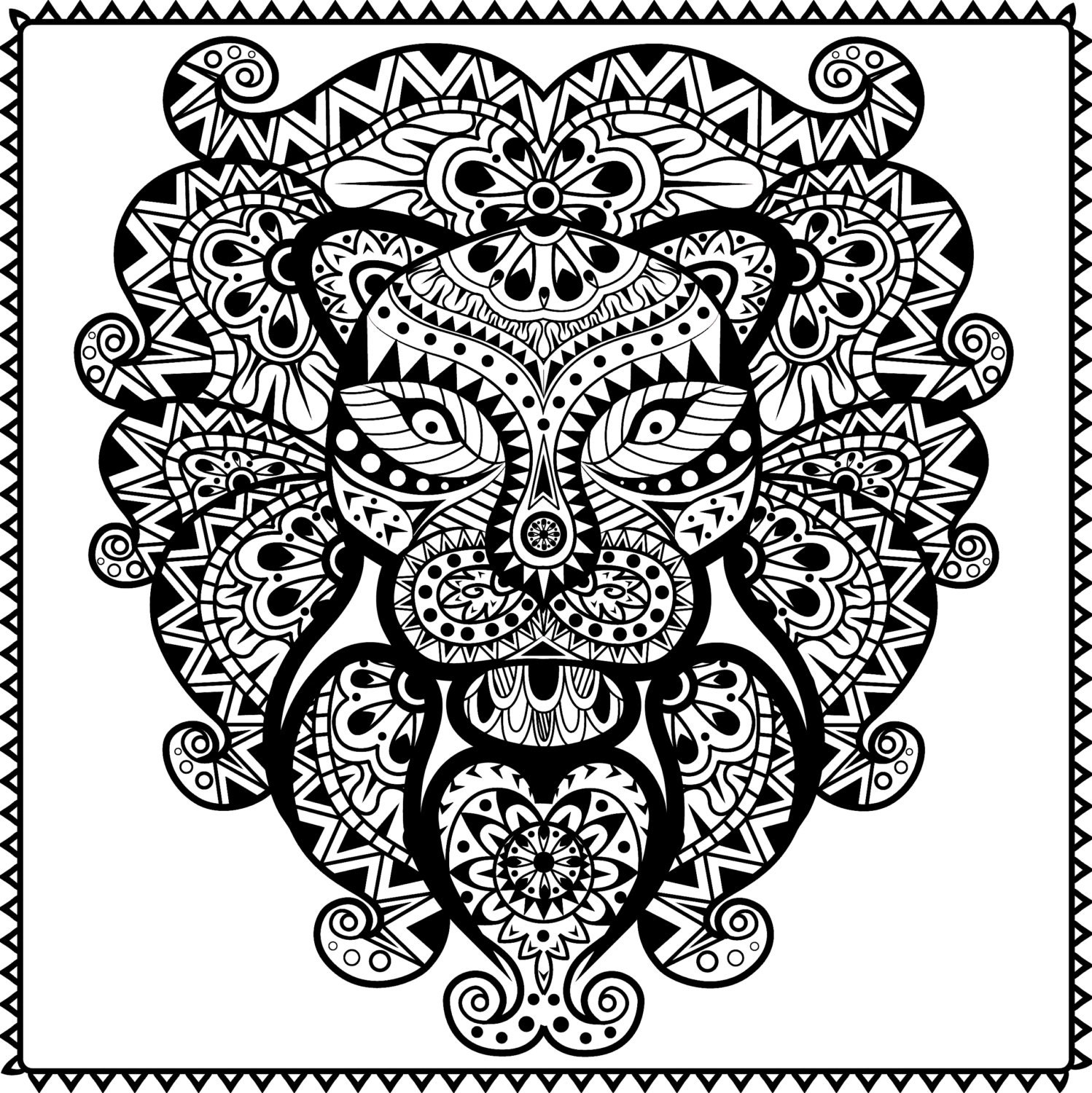 tribal animal coloring pages - photo#10