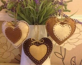 Set of 3 rustic felt/hessian hanging hearts.