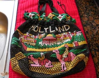 Vintage Jerusalem Souvenir-Fully Beaded Bag, Original Tag, HolyLand, Camels & City Scene, Slouch Pouch, Drawstring Purse, Israel Tote Bag