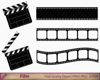 Movie clipart, film clapperboard clip art, film strip clipart, clapboard illustration, cinema, digital instant download, jpg png 300dpi
