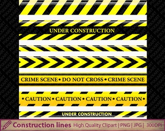 Construction lines clipart, police lines clip art, warning ribbon, scrapbooking, commercial use, digital instant download, jpg png 300dpi