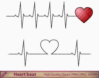 Heart beat clipart, heartbeat clip art, love life medical , wedding invitation, scrapbooking, digital instant download, jpg png 300dpi