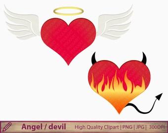 Angel devil clipart, love heart clip art, good evil bad, scrapbooking, commercial use, digital instant download, png jpg 300dpi