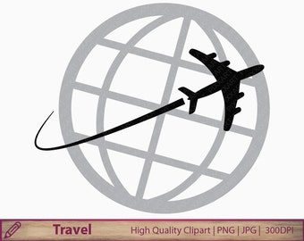 Travel clipart, plane clip art, travelling graphics, around world, holiday vacation, scrapbooking, digital instant download, png jpg 300dpi