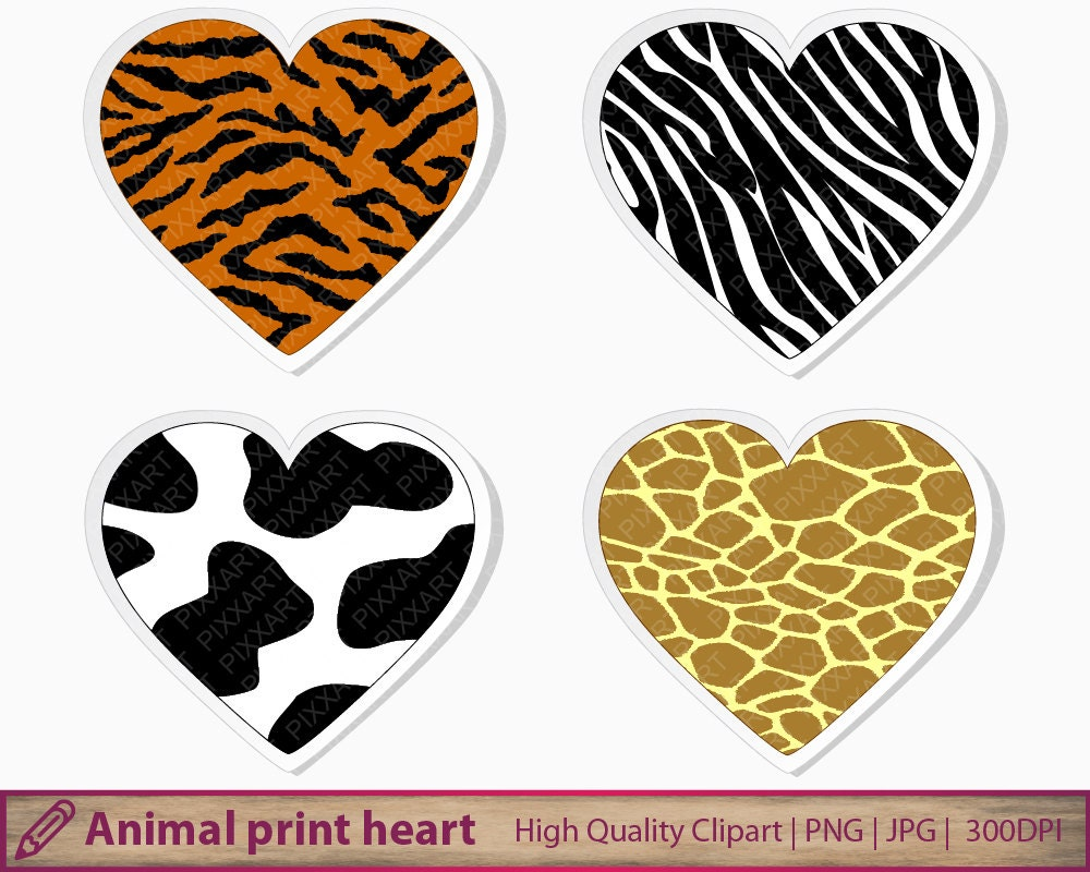 animal print heart clipart tiger cow giraffe zebra clip art