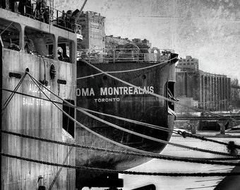 Photography, Montreal in winter, boats, old port, black and white, texture, art, design, decoration