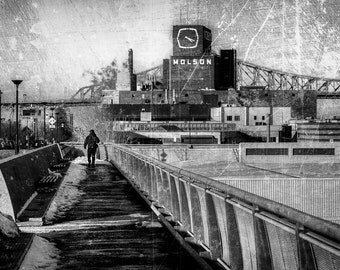 Photography, Montreal in winter, bridge, old port, black and white, texture, art, design, decoration