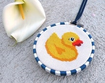 Cute Yellow Rubber Duck Counted Cross Stitch Pattern PDF Chart – Bathroom Bath Toy – Baby Gifts – Ducky – Duckie – Instant Download
