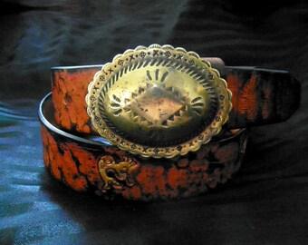 Handmade Leather Belt - Bold Aztec Design - Vintage 60s Buckle - Size 37 - 42