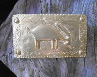 "Collectible 70s Belt Buckle * Aztec Design * Pewter * Gold * Fits up to 1 7/16"" Belt"