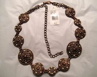 CONCHO BELT * VINTAGE 70s * Chain Link * Antique Copper Finish * Medium/Large