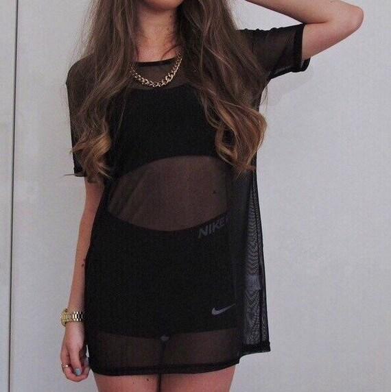 Black Baggy Mesh Oversized Dress Tee T Shirt Sheer Top By