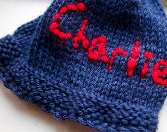 Personalized Navy Baby Boy hat with Name