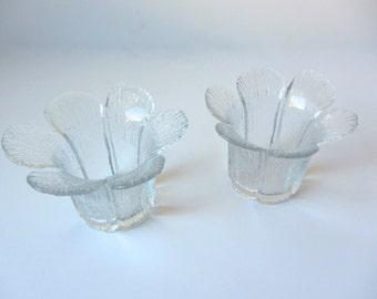 Glass Flower Tea Light Holders