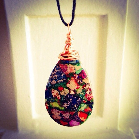 Rainbow Sea Sediment Jasper and Pyrite Teardrop Pendant