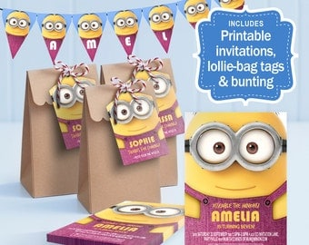 Minion Party Kit PINK - edit and print as many copies as you like / Invitation, Lollie Bag tags and Bunting / Personalise for your guests