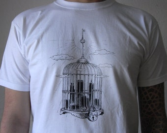 The Cage screen printed T-shirt 100% cotton