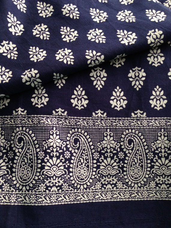 Pure Cotton Paisley Border Indian Fabric Block Printdark