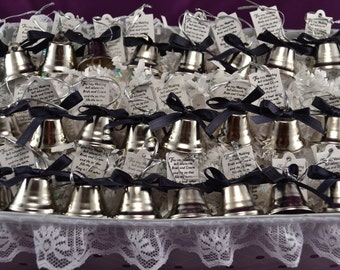 Customized Wedding Bells, custom basket, your choice of color ribbon, your printed message, 24 to a basket, Wedding, Bells, Church