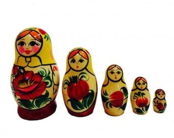 """Nesting Dolls """"Vyatskaya"""", 5 Pieces (Russian Matryoshka Babushka Stacking Doll)"""
