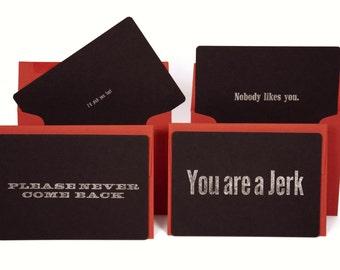 Letterpress Harsh Cards Set of 4 with Envelope (Jerk Set)
