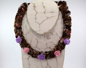 Necklace multicolor ribbon, violet and pink roses, original necklace, crochet, necklace flowers,girocollo, donna, roses for women..