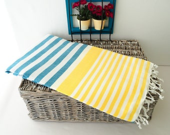 Yellow and Teal Turkish Towel,Yellow and Teal Beach Towel,Yellow Turkish Beach Towel,Bridesmaid Gift Towel,Wedding Gift Towel,Wedding