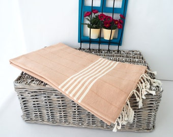Dark Beige Turkish Towel,famous Turkish Cotton Towel,Dark Beige Turkish Beach Towel,Rustic Turkish Towel,