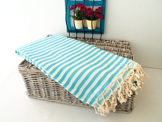 Turquoise Striped Turkish Towelturquoise Cotton