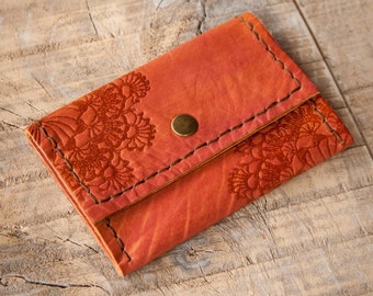 Autumn Red Leather Wallet, Leather Coin Purse, Coin Wallet, Leather Coin Pouch