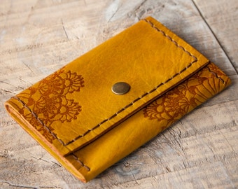 Dark Yellow Leather Wallet, Leather Coin Purse, Coin Wallet, Leather Coin Pouch