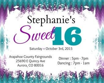Purple and Teal Sweet 16 Invitation