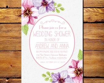 Wedding Shower Invitation, Printable Wedding Shower Invitation, Wedding Shower Invitation Vintage, Rustic Wedding Shower Invitation