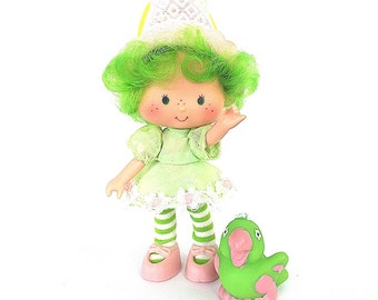 Lime Chiffon Doll with Parfait Parrot Pet Animal | Vintage 1980s Strawberry Shortcake and Friends Complete Doll | Retro SSC Doll |