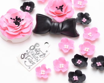 Fondant Birthday/ Sweet 16/ Special Occasion flowers and bow set