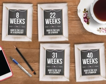 Printable Chalkboard Weekly Pregnancy Cards | 8 - 40 Weeks | Instant Download