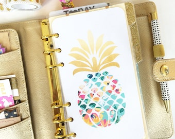 """Personal Size Planner Dashboard: """"Tropical Pineapple"""" Laminated Dashboard"""
