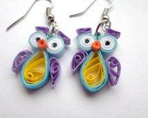 Quilled Earrings, Owls,  funny, quilling jewelry, gifts for her, Eco-friendly - Christmas Gifts.