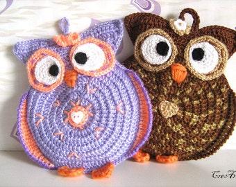 Crochet Owl Potholder, Owl Potholder, Presina gufi (Cod. 30)