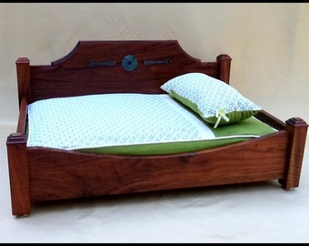 The Bone Tired Bed.....Pet Bed made with Solid 80 Year Old Black Walnut...Regency Style Headboard..Custom Upholstery Option Available