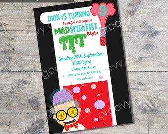 Mad Scientist Kids Party invitation DIY Printable Science theme party Scientist Invitations