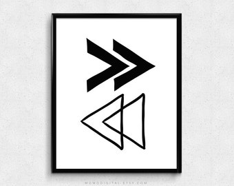 SALE -  Opposite Arrows, Intersected Arrows, Tribal Arrows, Modern Print, Black White Arrows, Geometric Print, Geometric Poster